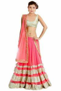 Pink And Gold Silk Lehenga